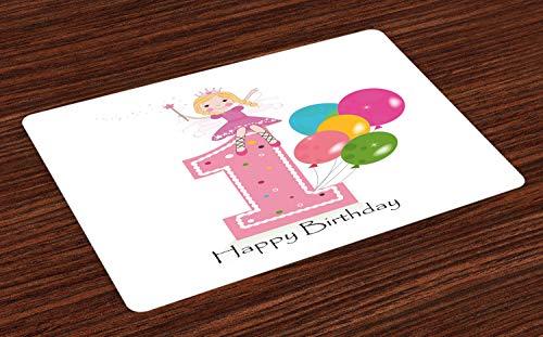 ABAKUHAUS 1. Geburtstag Platzmatten, Prinzessin Fairy Party Theme mit Best Wishes Rosa Zauberstab und Ballons, Tiscjdeco aus Farbfesten Stoff für das Esszimmer und Küch, Hellrosa und Lila