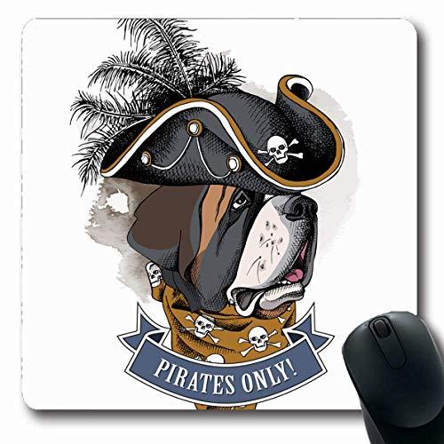 Luancrop Mauspads für Computer Entzückender Bernhardiner-Piraten-Hut-Halstuch-Handwild lebende Tiere verärgerter Bart-Schwarz-Knochen-Entwurf rutschfeste längliche Spiel-Mausunterlage -