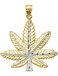 Collar Colgante 10K Amarillo Oro Hoja de Marihuana Cannabis Encanto (Viene con una cadena de