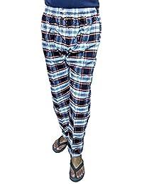 U P Khadi and Handloom Cotton Track Pants, Jogging Pants, Night Pants as Pyjama Check Design, Side Pockets with Zips, Size- XXL