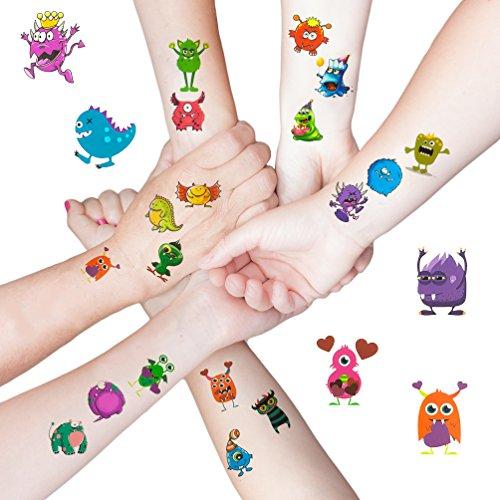 Oblique Unique® 48 lustige Bunte Monster Tattoo Sticker I Kinder Geburtstag Party I Temporäre Tattoos (Party Geburtstag Monster)
