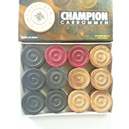 Carrom Moneta Set da 24 Monete Legno Di Sheesham Champion carrom monete + Attaccante