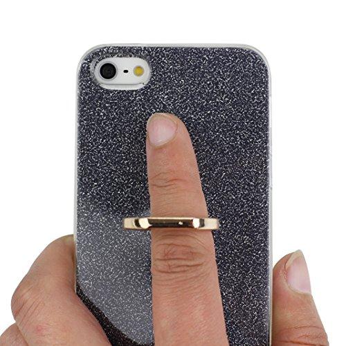 Coque iPhone 5 5S SE, Moon mood 2in1 Hybrid Cover avec 360 Degree Rotating Grip Finger Ring Case Bling Gliter Sparkle Briller Coque [PP Détachable Bling Paper] pour iPhone SE Paillette Anti Choc Houss Noir