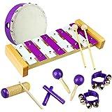 Tera Juguetes de instrumentos musicales para niño 6 in 1 de color violeta