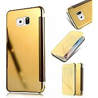 Galaxy S6 Edge Cover,MingKun Samsung Galaxy S6 Edge Funda de Cuero Flip Cover Carcasa Protectora de Carcasa con Soporte Plegable Caso