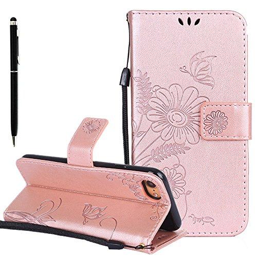 Custodia in pelle per iPhone 7 Cover, Zcro Stile Elegante di Cuoio Magnetica Flip del Libro Fiori Farfalla Custodia Portafoglio Case con Titolare della Carta Cinturino Nero Gratuito Penna Stilo per iP Oro Rosa