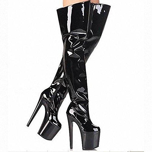 Donne Lungo Stivali Pelle Super Alto Tacchi Al Di Sopra Di Ginocchio Discoteca Pole Dance Modello Prestazione Scarpe black