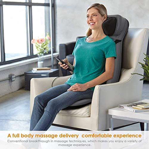 INTEY Sedile Massaggiante Shiatsu - Massaggiatore Schiena, Riscaldamento, 3D Impastamento e Vibrazione, con Caricabatteria per Auto e Adattatori Prese, Adatto a Casa, Ufficio e Uso dell'Auto