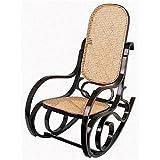 Schaukelstuhl Wippstuhl aus Walnuss Holz Sitzfläche aus Rattan - dunkelbraun