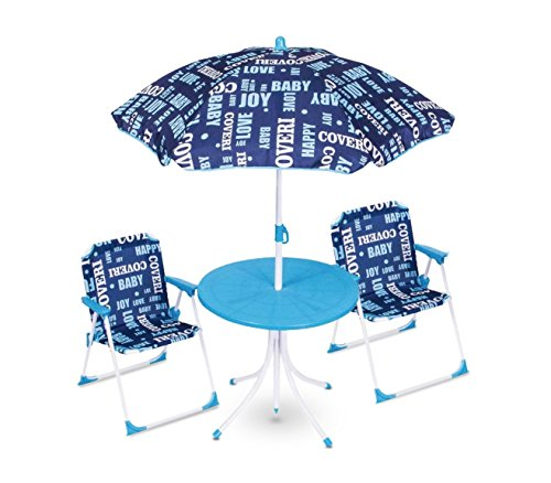 Media wave store set da giardino per bambini 3177110 coveri baby tavolino sedie e ombrellone (azzurro)