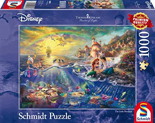 Schmidt Spiele Puzzle 59479 59479-Puzzle Thomas Kinkade 1.000 Teile Disney Kleine Meerjungfrau, Arielle, bunt