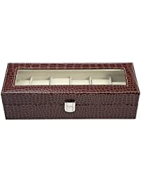 Luxury 6 Slot Watch Organizer Storage Box Glass Top PU Leather Watch Display Case Black Crocodile-Like Texture...