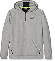 Puma Children's Sports Style Halfzip Hoodie Pullover, Children's, SPORTS STYLE Halfzip Hoodie, Medium Grey Heather, 152