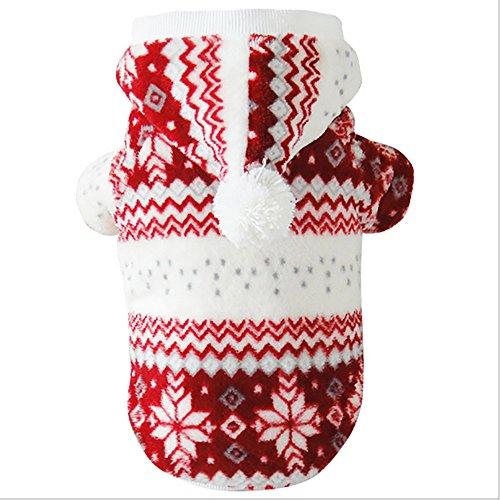 vitalite-pet Puppy Katze Weihnachten Anzug Outfit Pet Kapuzenpullover für Hunde Kostüm Puppy Winter Warm Coat (Pet Outfits Für Katzen)