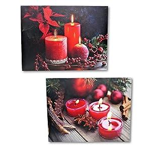 Geschenkestadl 2 LED Wandbilder rote Kerzen und Teelichter beleuchtet Bild je 40 x 30 cm Leinwand Weihnachten