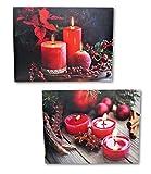 2 LED Wandbilder rote Kerzen und Teelichter beleuchtet Bild je 40 x 30 cm Leinwand Weihnachten