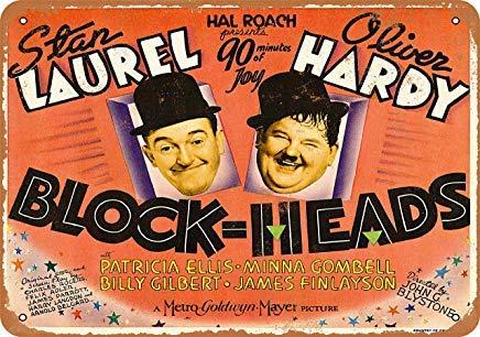 AmyyyEden 1938 Blechschild, Motiv: Laurel and Hardy Blockheads aus Film, Vintage-Look, 20,3 x 30,5 cm Vintage Laurel