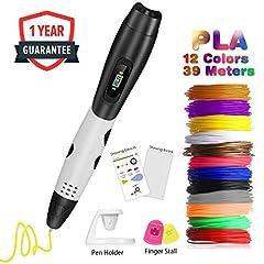 Idea Regalo - Penna 3D Professionale,Fede Penna 3D con 12 Filamenti 1,75mm PLA Supplementari e Colori Diversi,Ogni di 3,3 Metri e Totale di 39,6 Metri,Penna Stampata 3D è un Regalo Perfetto per Bambini,Adulti