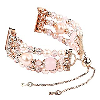 Artistic9 Telescopic Chain Beaded Bracelet Strap Band Fashion Sports Replacement Strap Compatible Fitbit Versa