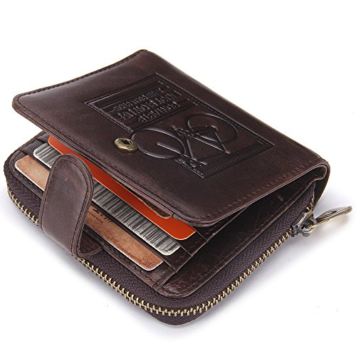Contacts Men's Genuine Leather Bifold Card Holder Coin Pocket Purse Zipper Short Wallet Dark Brown (Wallet Zipper)