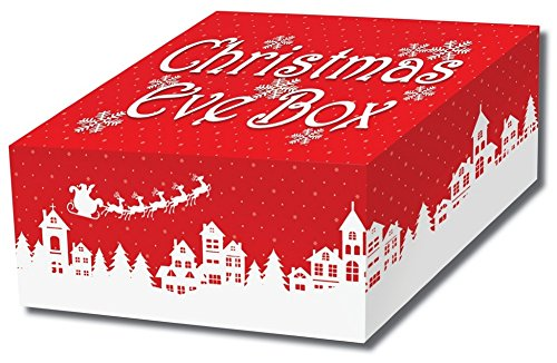 Buzz Christmas Eve Box-stabile Flache Karte Christmas Eve-Traditionelle Nordic Stil Rot und Weiß Faltbare Christmas Eve Box - Traditionelle Holly