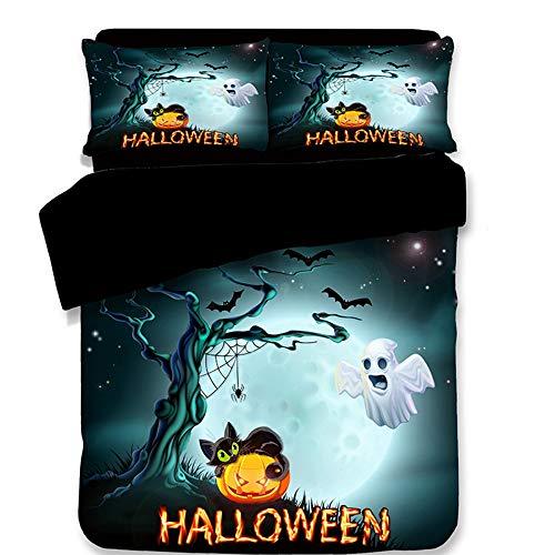 YSYW Halloween Bettwäsche-Set 3 Stück Bettbezug-Sets Bettwäsche 3D Bettwäsche-Sets Halloween Warrior Bettbezug + 2 Kissenbezüge,B-Queen