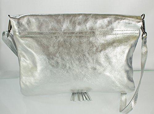 63ea03a33bba5 ... Echt Leder Damen Tasche Ledertasche Umhängetasche Schultertasche  (bronze metallic) silber ...