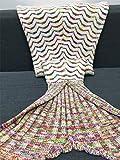 BFHLRDE Meerjungfrau Decke Herbst Warm Gestrickte Meerjungfrau Schwanz Decken Baby Aushöhlen Weiche Crochet Winter Sofa Kinder Schlafsack 1 90x40 cm
