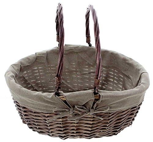 SIDCO ® Einkaufskorb modern Weide mit Textileinlage Weidenkorb Bügelkorb Tragekorb oval