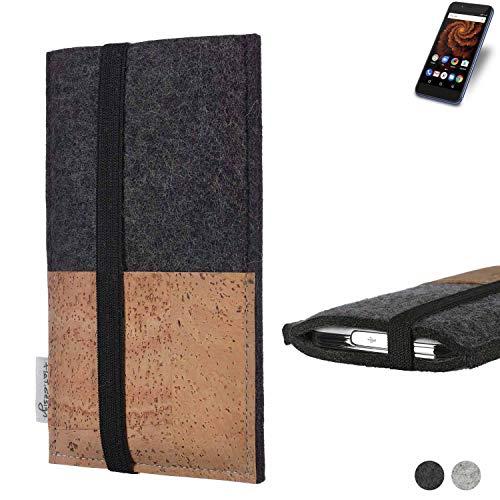 flat.design Handy Hülle Sintra für Allview X4 Soul Mini S Handytasche Filz Tasche Schutz Kartenfach Case Natur Kork