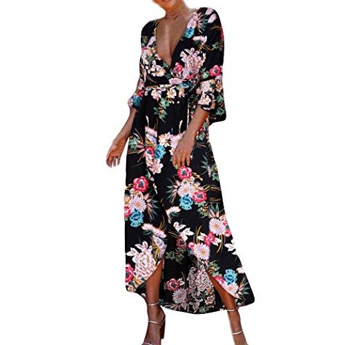 Beach Sommerkleid Floral Boho Abendgesellschaft lange Maxi Kleid(Schwarz,EU-38/CN-M) (Womens Weihnachtsbaum Kostüme)
