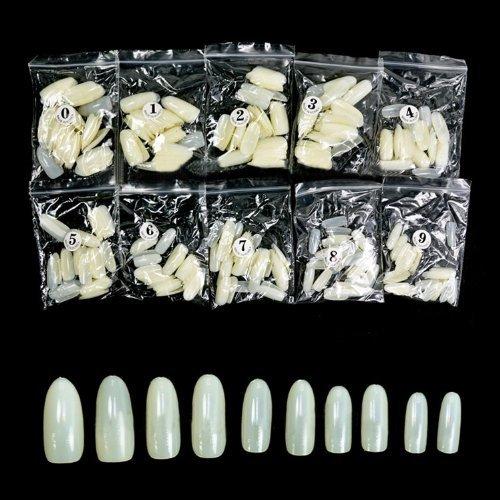 Plein ovale de couverture / Rond faux ongles en acrylique artificielles bouts d'art Nails entières 500pcs - code naturel: # 590N