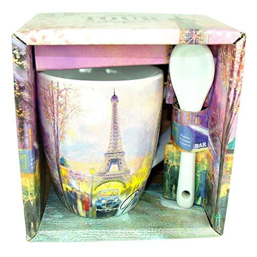 Souvenirs of France Kaffeetasse mit Löffel, Paris Eiffelturm, Weiß/Rosa