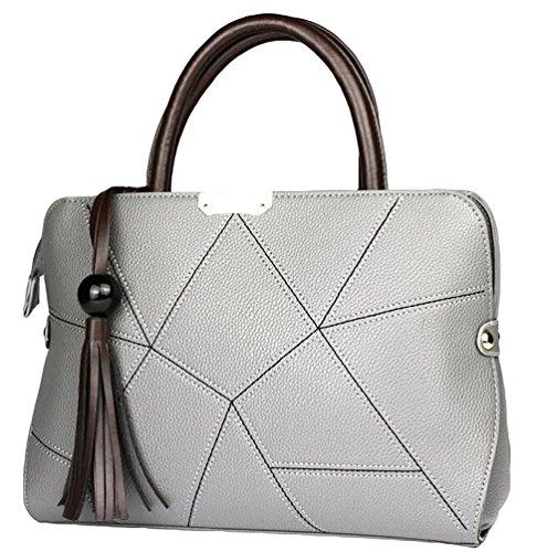 NiSeng Damen Kleine Handtasche PU Leder Umhänge handtaschen Uni Elegent Schultertasche Grau