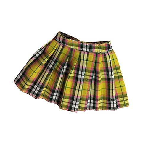 uppenkleidung, Mini Plaid Rock Kleid Für 12 Zoll Weibliche Figur - Gelbe Plaid ()