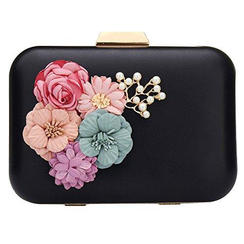 Frauen Clutches Purses Taschen Blumen Leder Umschlag Perle Perlen Brieftasche Abend Handtasche (schwarz) (Purse Glitter-abend-clutch)