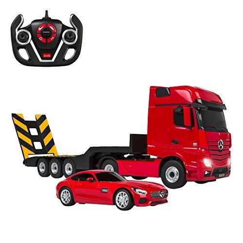 Rastar - Camión teledirigido 1:26 Actros y coche RC Mercedes V8 1:24, color rojo, 1 (ColorBaby 85191)