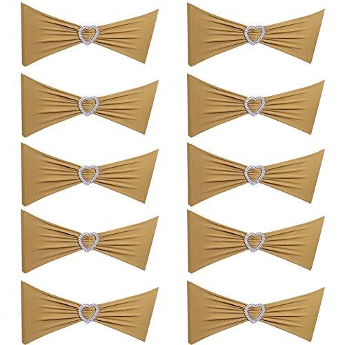 AchidistviQ 10 Spandex Herz Stuhlbezüge Band für Hochzeit Esstisch Banquet Decor goldfarben (Stuhlhussen Arm)