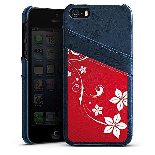 Apple iPhone 5 Housse Étui Silicone Coque Protection Amour Amour C½ur Étui en cuir bleu marine