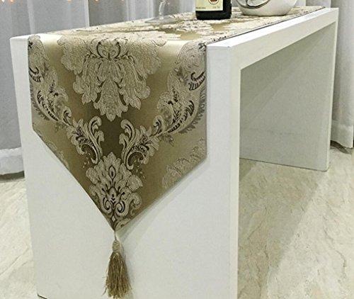 (qwertyui Europäischer Luxus Mode Tischläufer Klassisch Geometrisch Bettläufer Western Tisch Tischdecke,Coffee,30 * 180cm)