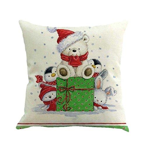 Federe cuscini,fittingran pupazzo di neve di natale stampato federa di lino natale stampa tintura divano letto home decor cuscino copri cuscino (b)