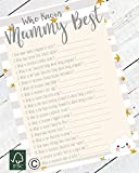 The Little Party Company Baby Shower Game - Who Knows Mummy Best - 10 Sheets Cloud Design (BSCWKMB)