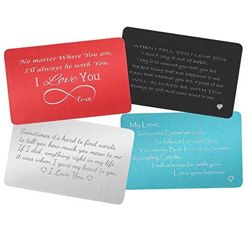 Personalisierte Metall-Geldbörse für Liebes-Notizen, Lasergravur, Text-Nachrichten, Foto, Geschenk für Ehemann, Ehefrau, Jahrestag, Valentinstag, Deployment, Hochzeit und mehr -  schwarz -  Regulär