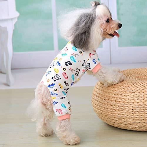 Four Seasons Das Kostüm - Dovlen Hundebekleidung Haustier Schlafanzug Overall Haustier Welpen Four Season Gedruckt Elastisch Atumungsaktiv Cool Weste Kapuzenpullover für Kleiner Hund - S