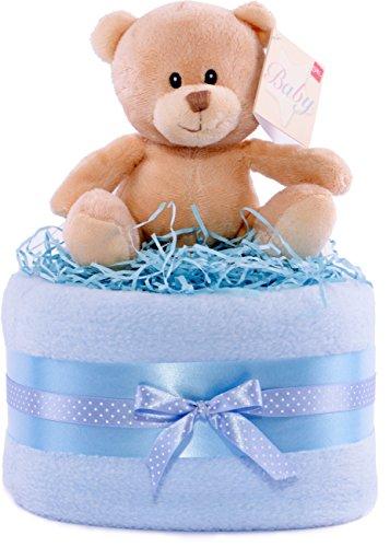 Tarta de pañales, diseño de oso, color plateado, azul y blanco cesta de regalo de niños bebé