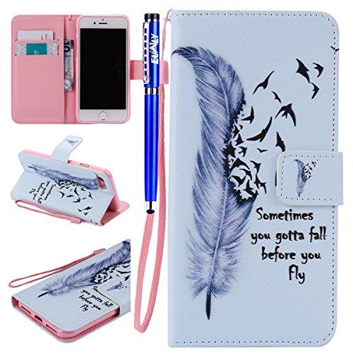EUWLY Lederhülle für [iPhone 8/iPhone 7] Luxus Bunte Ledertasche Handytasche Flip Case Cover Lanyard Strap Leder Wallet Tasche Retro Kartensteckplätze Leder Magnetverschluss Hülle Brieftasche im Book