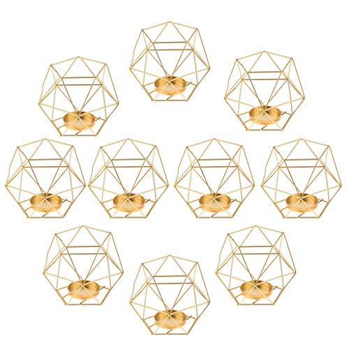 FLAMEER 3D Geometrischer Kerzenständer Kerzenhalter Gold Teelichthalter Hochzeit Dekoration - 10 Stück