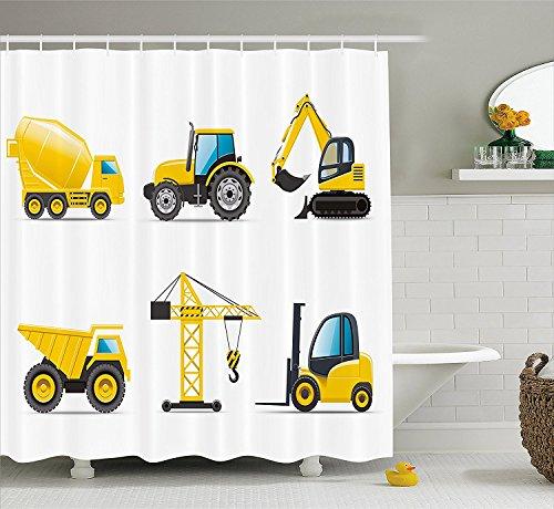 KCOUU Boy 's Room Vorhang für die Dusche von, Cartoon Stil Heavy Maschinen Truck Kran Bagger Mixer Traktor Konstruktion, Stoff Badezimmer Decor Set mit Haken, 152,4x 182,9cm, Gelb Grau