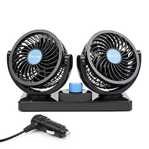 ChiTronic® Double ventilateur de refroidissement électrique pour voiture–Rotation à 360°–Puissant et silencieux Pose sur tableau de bord