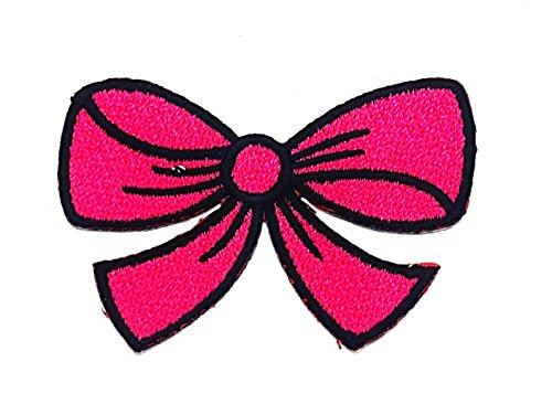 rabana Hot Pink Schleife Knoten Band Boho Retro Nähen Nähen Cartoon Kids Kinder Cute Animal Patch für Heimwerker-Applikation Eisen auf Patch T Shirt Patch Sew Iron on gesticktes Badge Schild (Ribbon Pet Kostüme Pink)